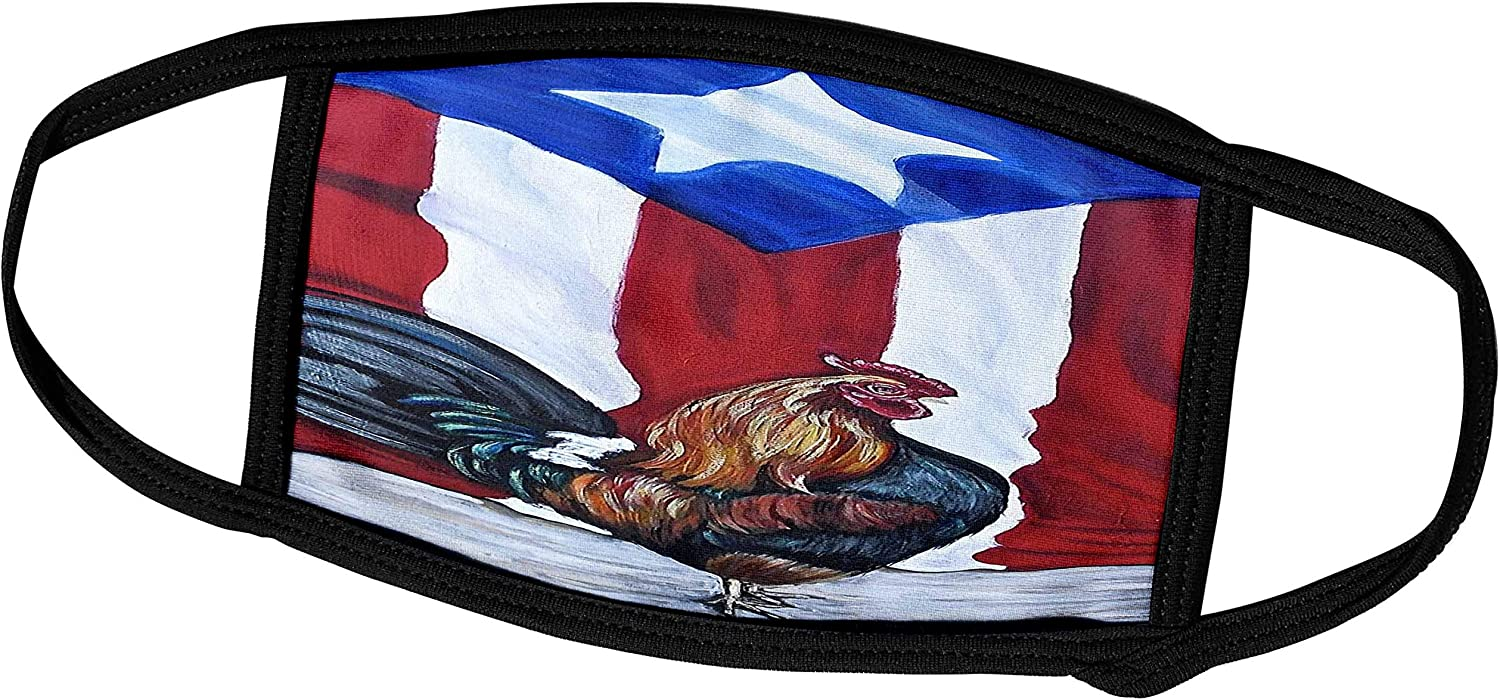 3dRose Melissa A. Torres Puerto Rican Art - Rooster with Puerto Rican Flag - Face Masks (fm_186792_3)