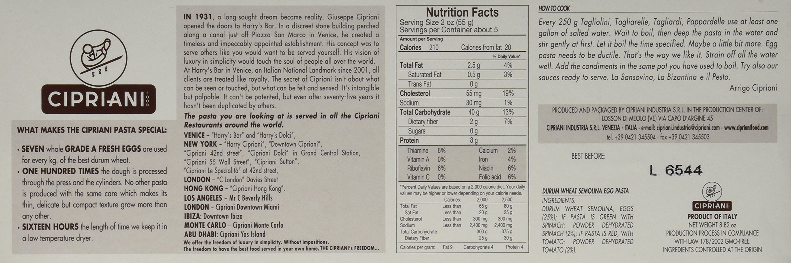 Cipriani Food Pappardelle Extra Thin Egg Pasta, 8.82 oz