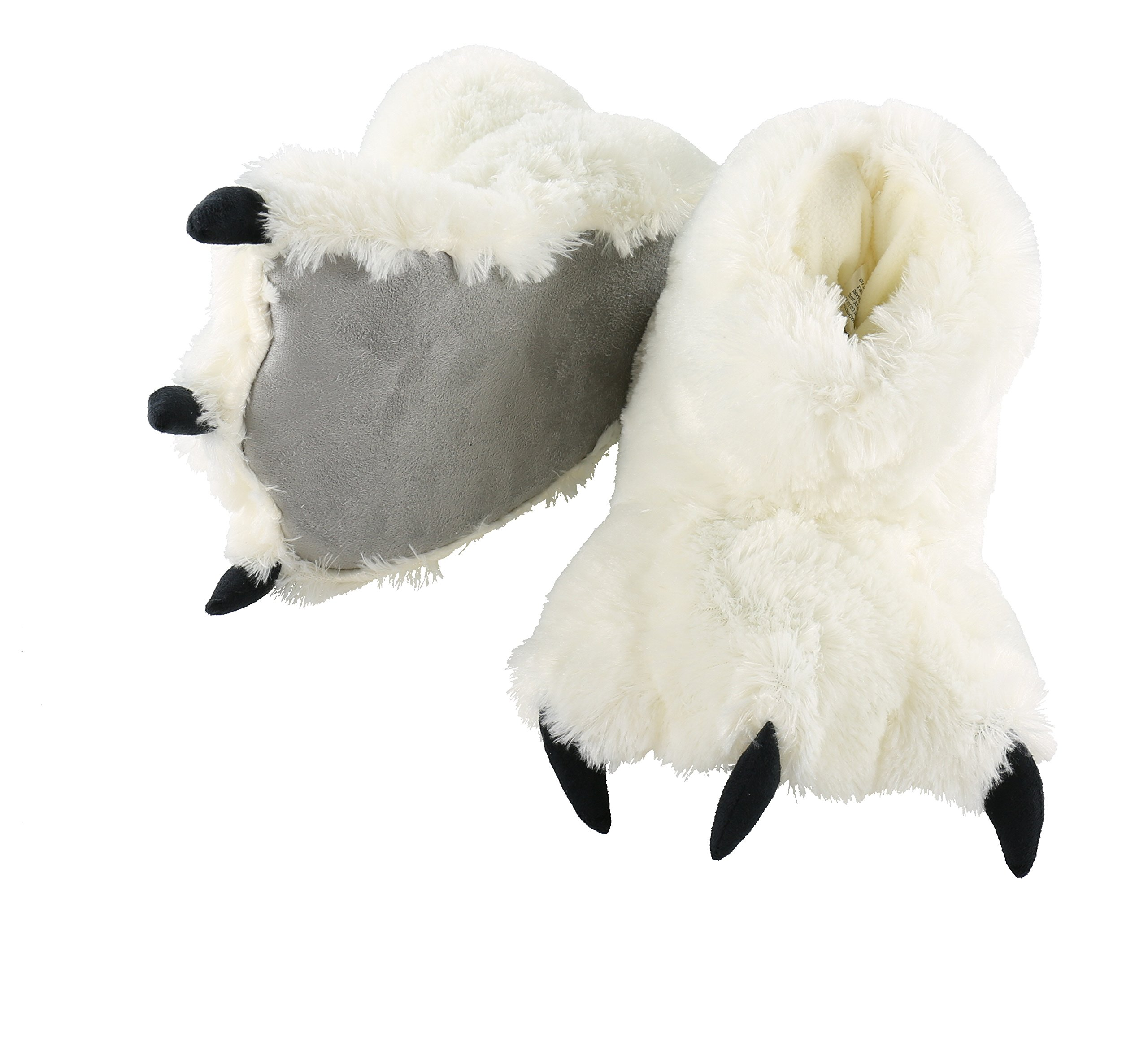Bear Paw Sllippers White Animal Paw Slippers for Kids and Adults by LazyOne | Fun Fuzzy Costume Footwear (Large)