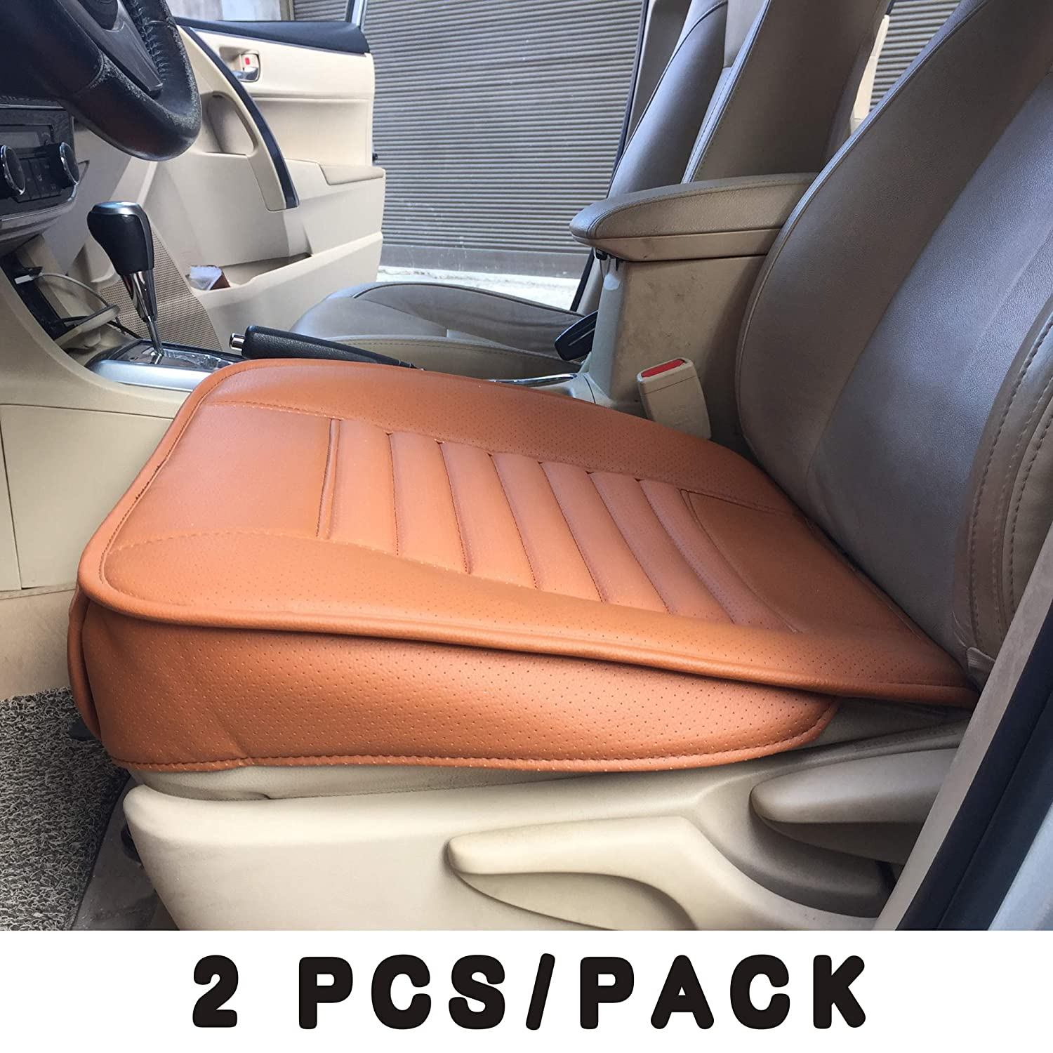 Orange LUCKYMAN CLUB 2 pcs Edge Wrapping Front Car Seat Cover Pad Mat Cushion for Cars Sedan SUV Truck Van with PU Leather