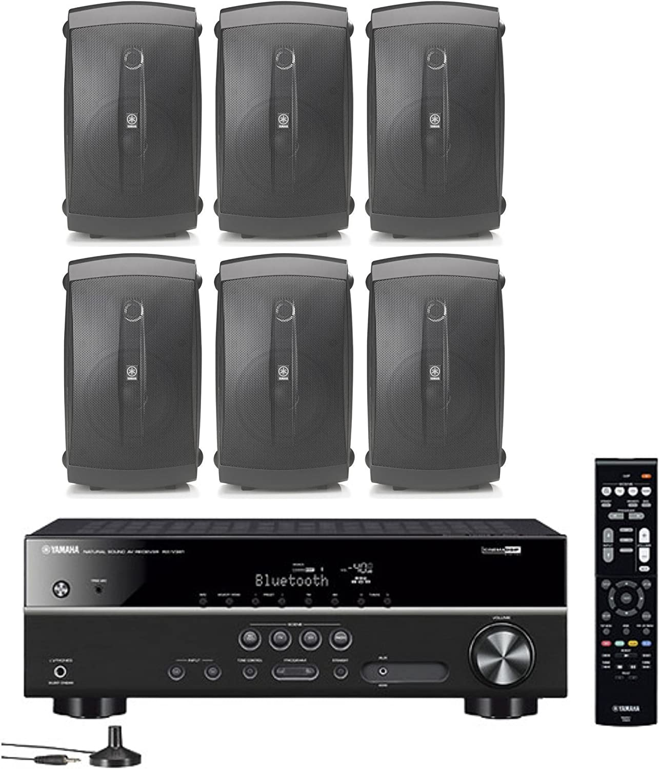 Yamaha 5.1-Channel Wireless Bluetooth 4K A/V Home Theater Receiver + Yamaha Natural Sound 2-Way 120 watts 2-Way Indoor/Outdoor Weatherproof Speakers (Set of 6)