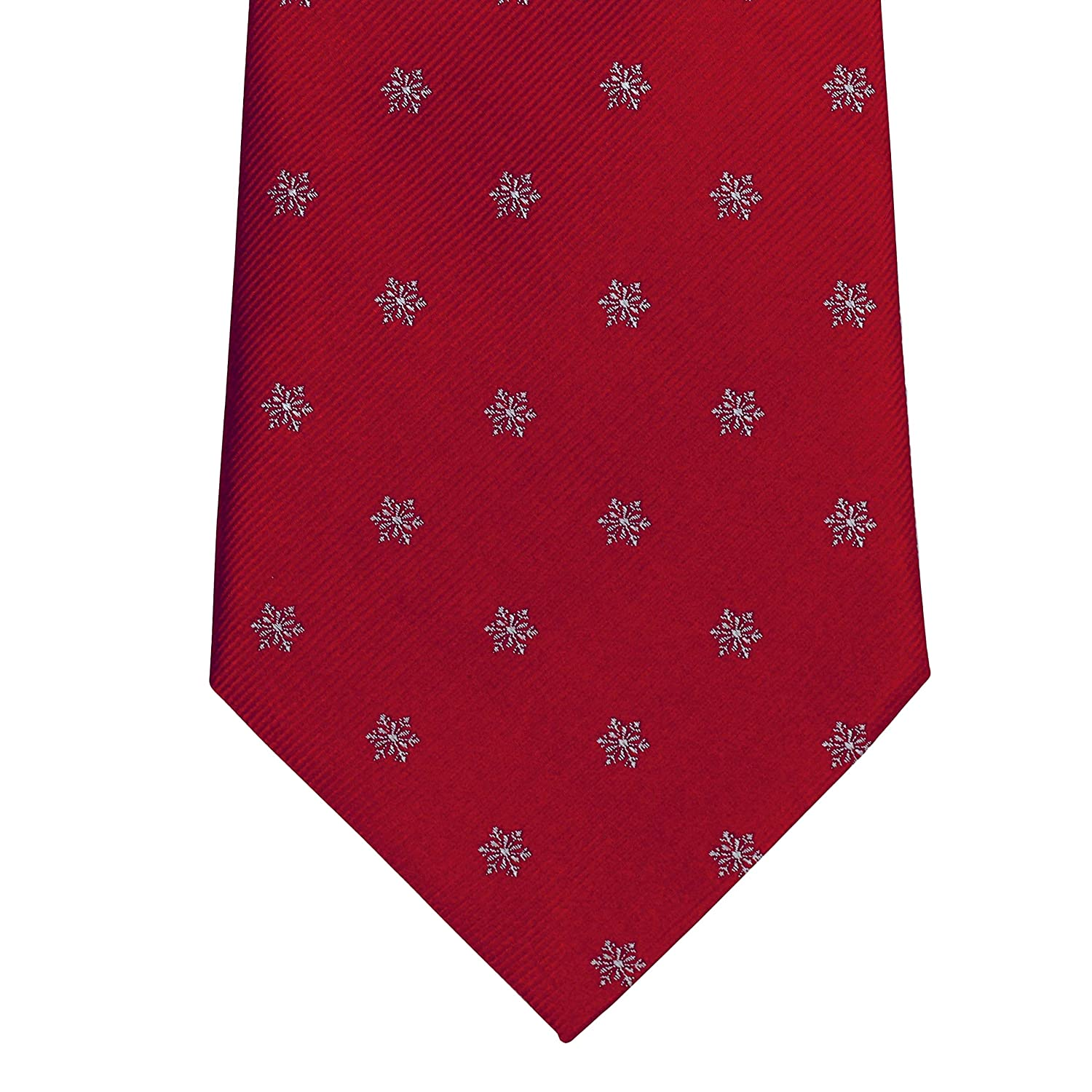 100/% Silk Extra Long Tie for Big and Tall Men Red Snowflake Holiday Christmas Novelty Silk