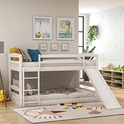 Amazon Com Low Bunk Bed Twin Over Twin Bunk Bed With Slide And Ladder For Boy Girls And Young Teens White Kitchen Dining