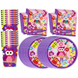 Patchwork Owl Birthday Party Supplies Set Plates Napkins Cups Tableware Kit for 16