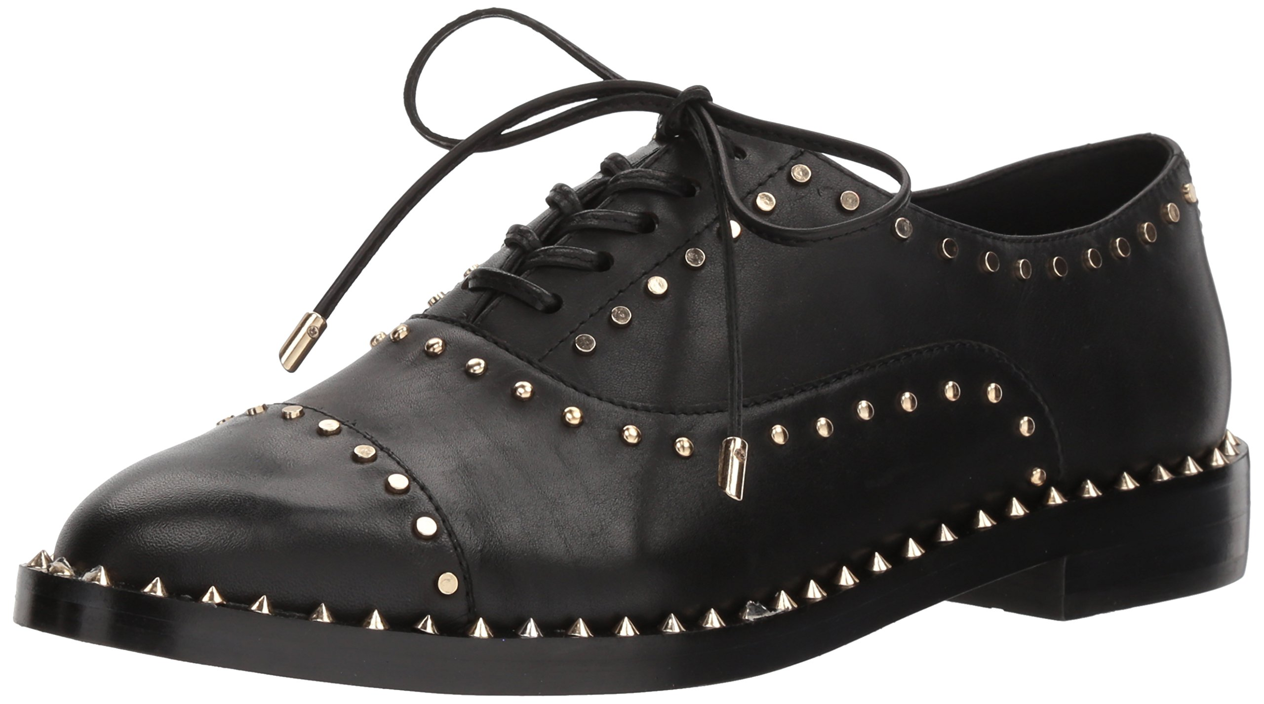 Nine West Women's Garroy Leather Oxford Flat, Black Leather, 6.5 Medium US