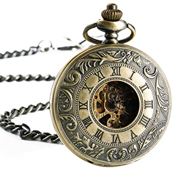Manchda pocket watch bronze double hunter vintage pendant manchda pocket watch bronze double hunter vintage pendant mechanical movement for men women with chain mozeypictures Images