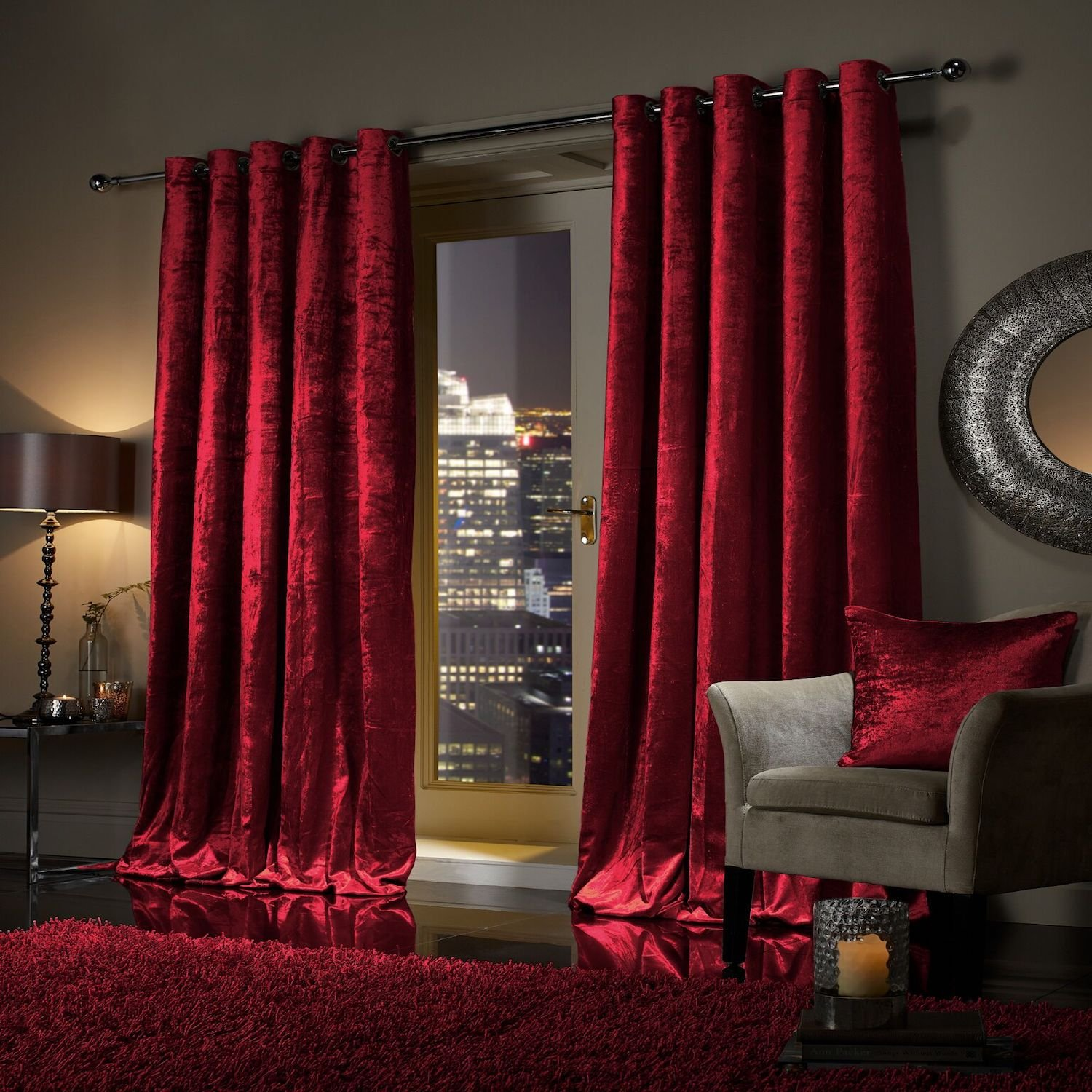 """viceroy bedding Pair of Heavy Crushed Velvet Curtains EYELET RING TOP Fully  Lined Curtains Raspberry Red 90"""" Width x 90"""" Depth- Buy Online in India at  desertcart.in. ProductId : 145928275."""