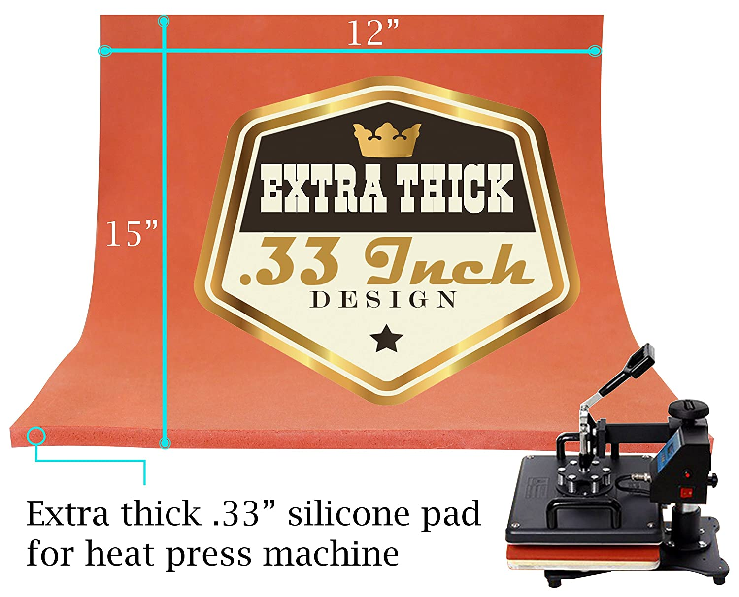 12 x 15 Extra Thick Silicone Pad, Heat Press Silicone Mat Replacement, Thickest (.33) on Amazon by Hoptopper 4336975518