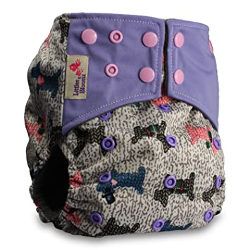 with 2 Microfibre Inserts Littles /& Bloomz Reusable Pocket Real Cloth Nappy Washable Diaper Bamboo Charcoal Pattern 16