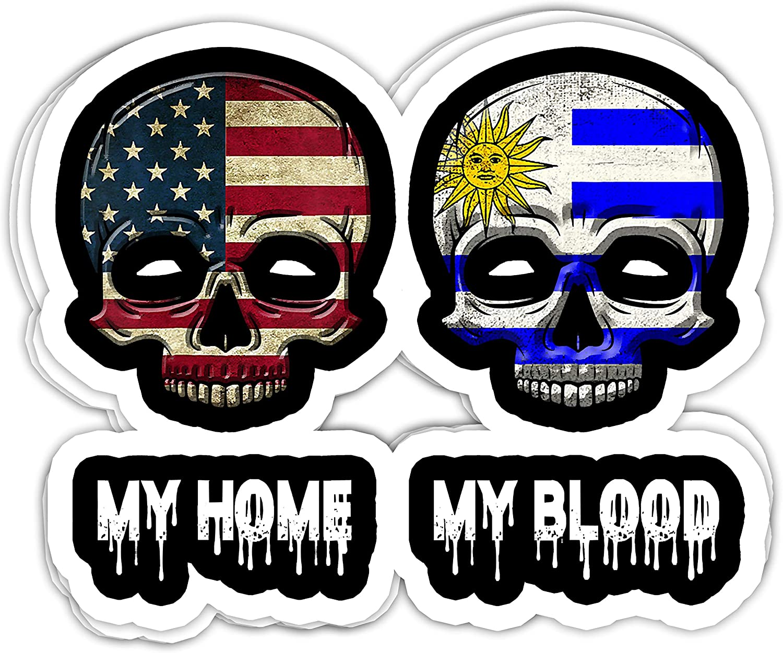 Nana Store My Home USA My Blood Uruguay- 4x3 Vinyl Stickers, Laptop Decal, Water Bottle Sticker (Set of 3)