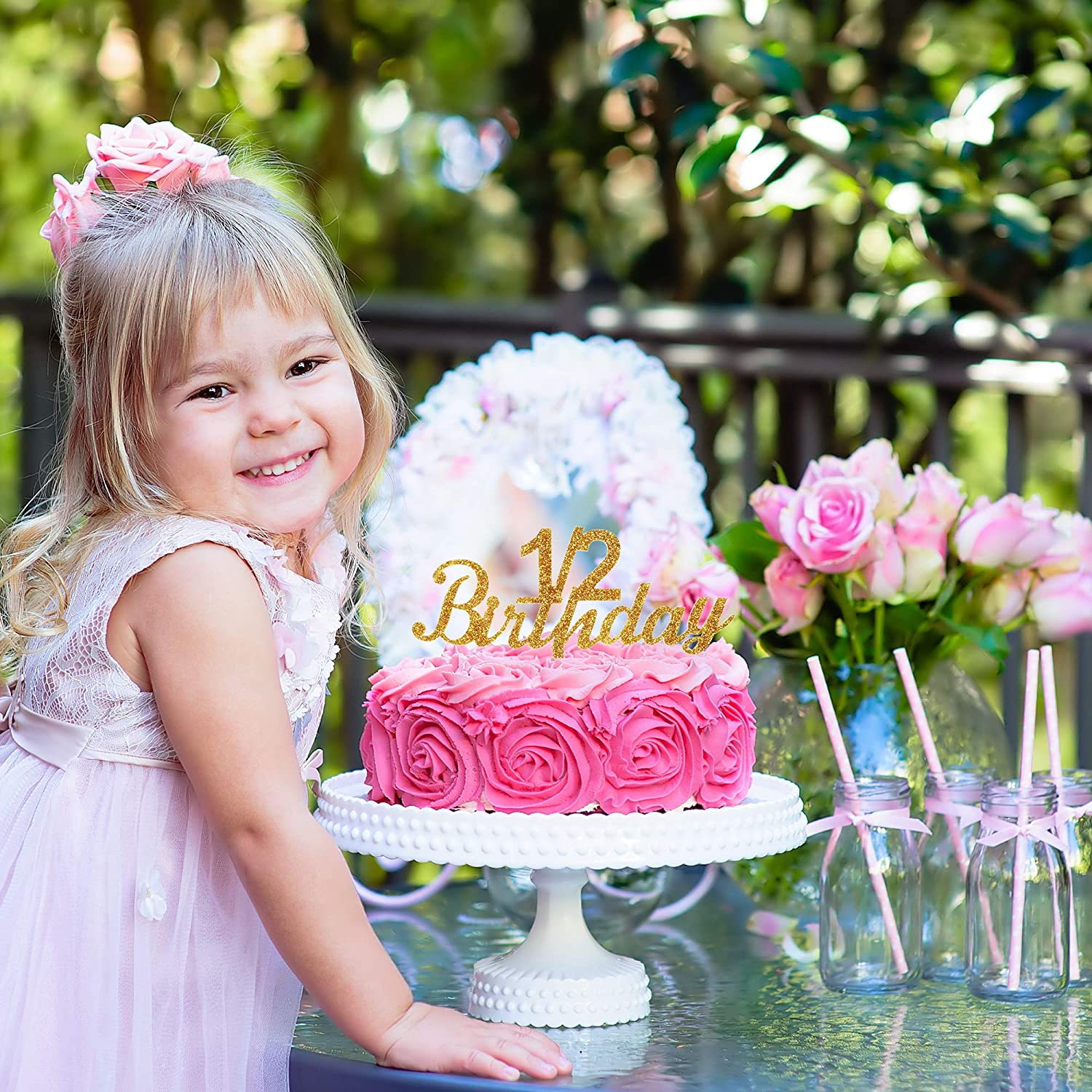 1 2 Birthday Gold Glitter Acrylic Cake Topper For Celebrate Sweet 6 Month Baby Shower Party Decorations AZIWEI 1541673063 428342