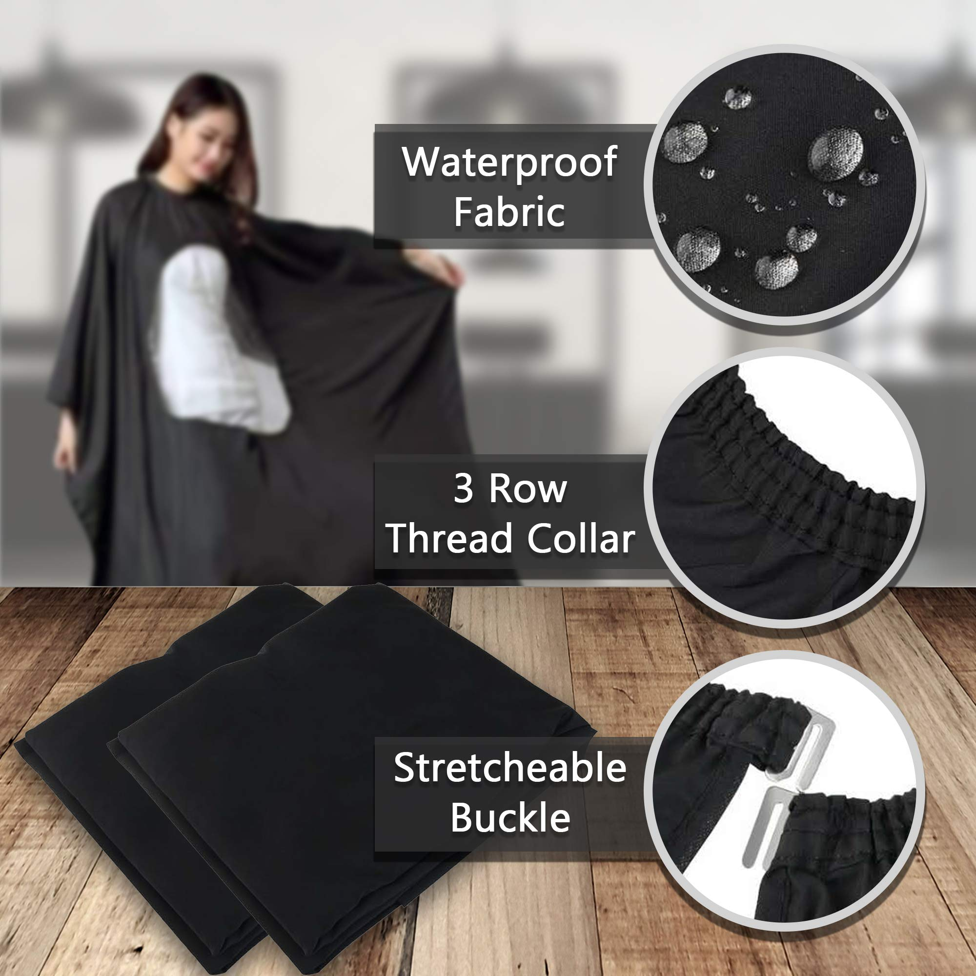 Celebrita Pack of 2 Waterproof Barber Cape for All - With Transparent Viewing Window – Perfect Salon Apron for Hair Treatment - Cutting/Coloring/Perming - All Shampoo Chemical Proof Hairdresser by Celebrita (Image #4)