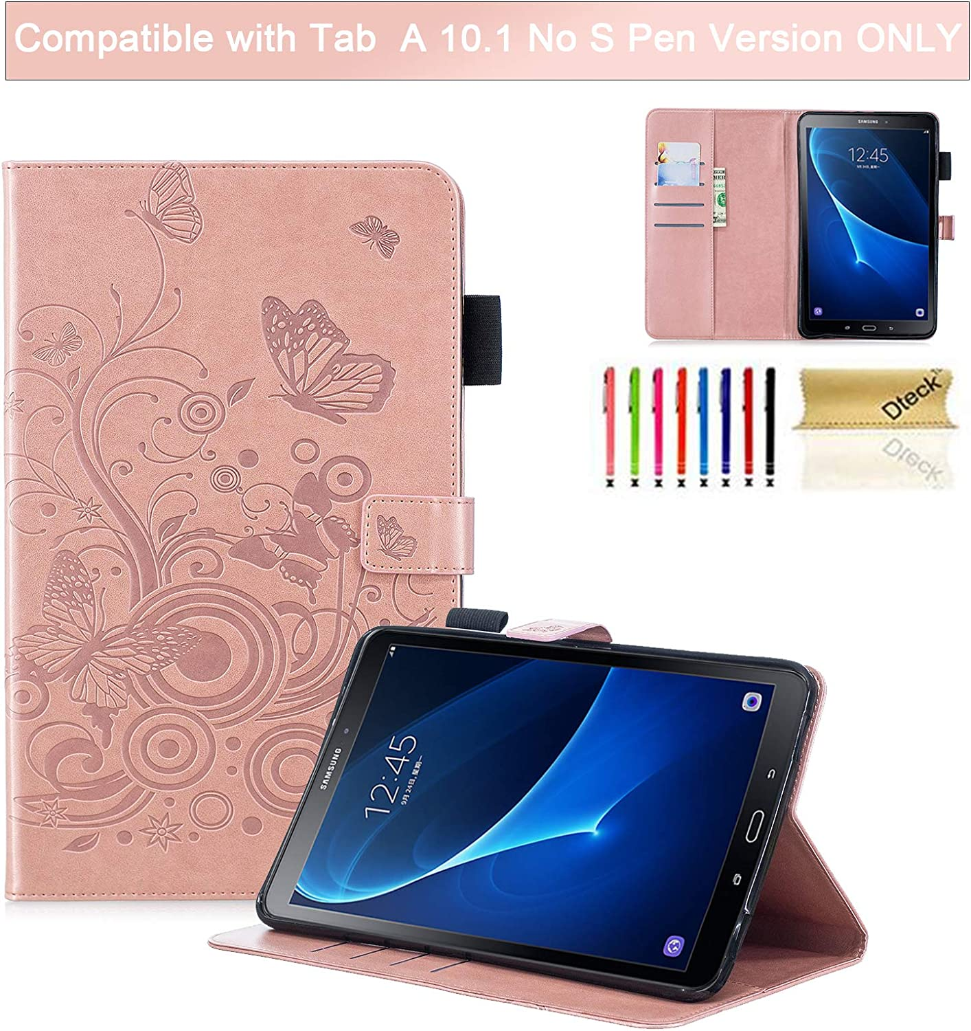 Dteck Galaxy Tab A 10.1 Case 2016 Model SM-T580 - [3D Embossed Butterfly] PU Leather Stand Case for Galaxy Tab A 10.1 Inch Tablet SM-T580 T585 T587 (2016 Release NO S Pen Version), Rosegold