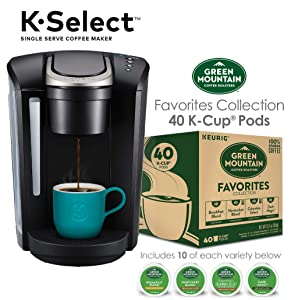 Keurig K-Select Single Serve K-Cup Pod Coffee Maker & Green Mountain Favorites Collection,40 Count
