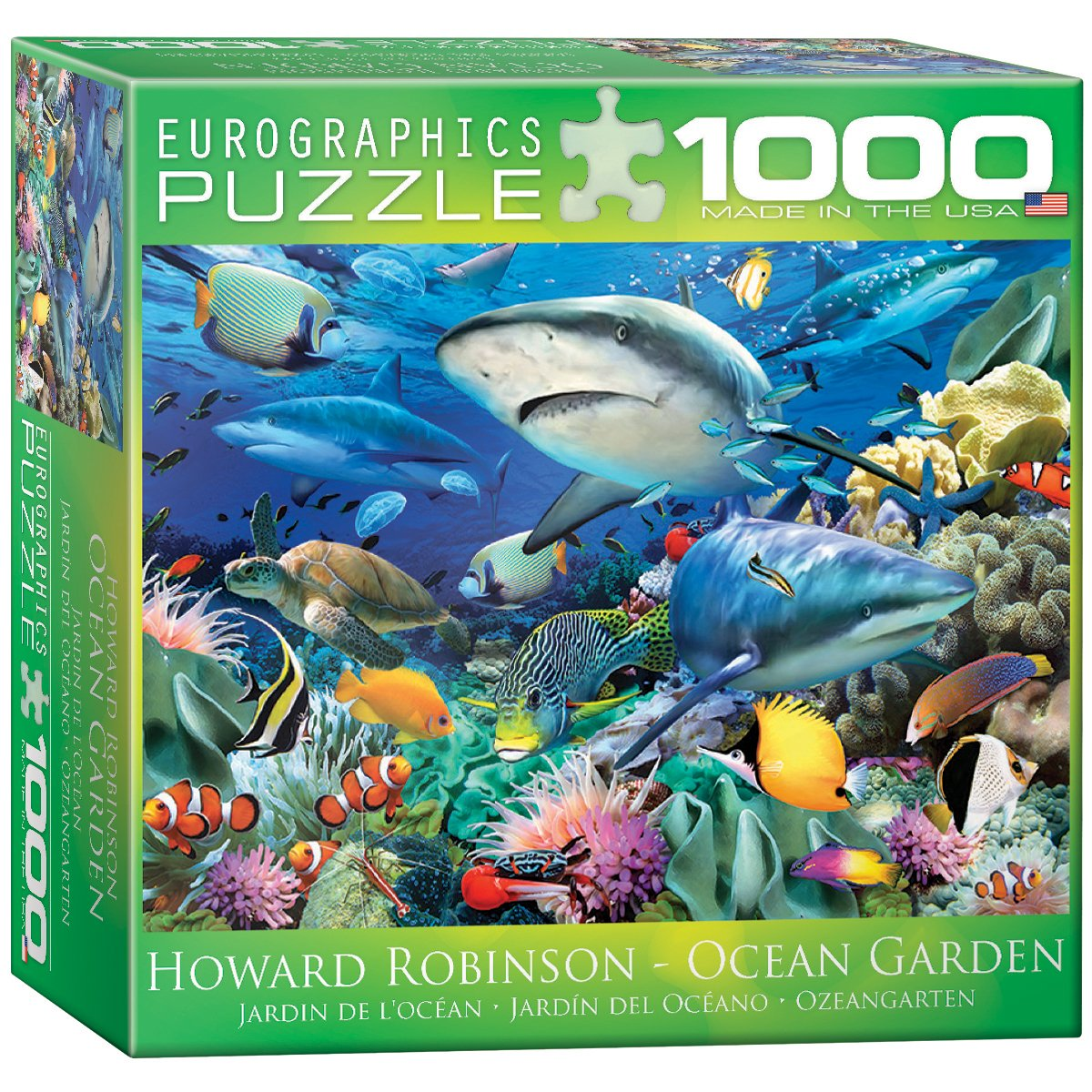 Freshwater fish jigsaw puzzles - Amazon Com Eurographics Swimming With Sharks By Howard Robinson Jigsaw Puzzle Small Box 1000 Piece Toys Games