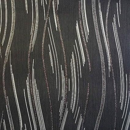 Glitter Wallpaper Shimmer Textured Modern Lines Stripes Black Grey Silver