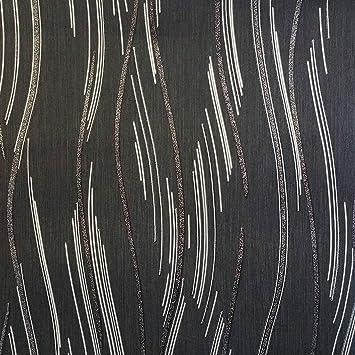 Glitzer Tapete Shimmer Strukturierte Moderne Linien Streifen schwarz ...