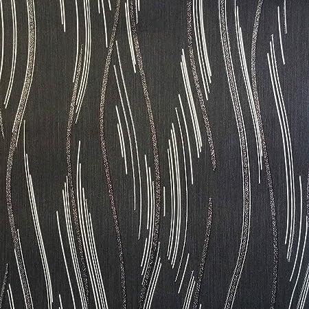 Glitter Wallpaper Shimmer Textured Modern Lines Stripes Black Grey