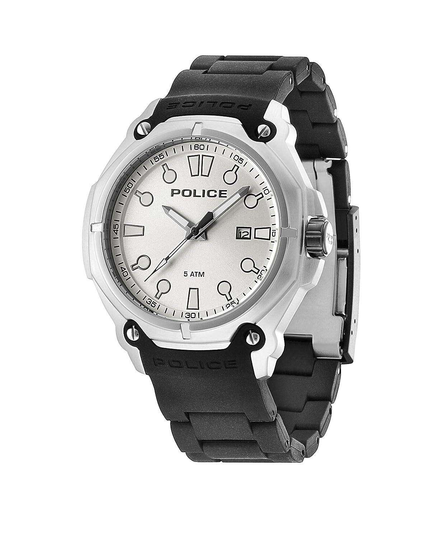 Police PL.93935AEU/04A - Reloj de cuarzo para hombres con esfera blanca y correa negra de silicona