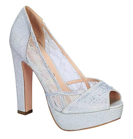 Women's Formal High Heel Pump With Shimmer Rhinestones (8.5 Silver)