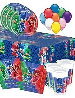 Set de Cumpleaños Completa PJ Masks 8 niños (8 Platos, 8 ...