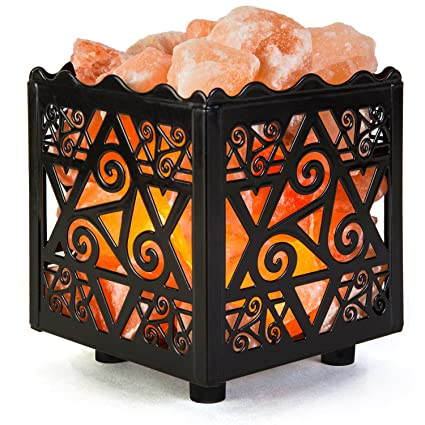 Marvelous Crystal Decor Natural Himalayan Salt Lamp In Star Design Metal Basket With  Dimmable Cord