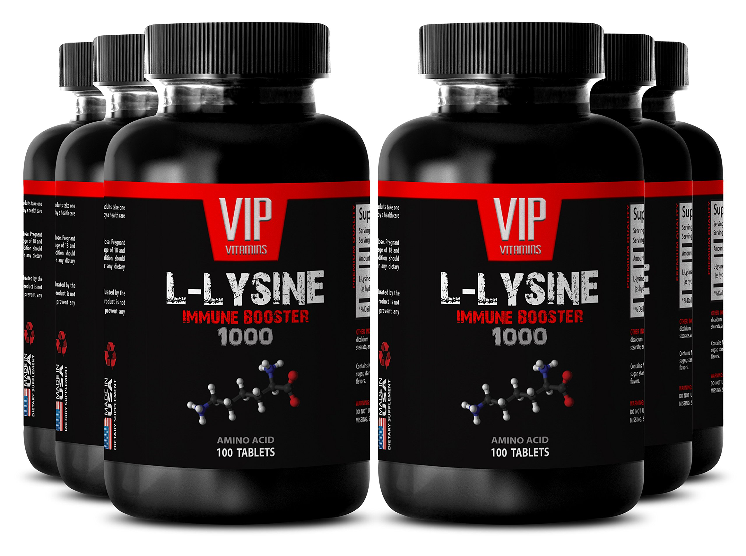 VIP VITAMINS Bodybuilding supplements - L-LYSINE IMMUNE BOOSTER 1000 - Bone strength - 6 Bottles 600 tablets