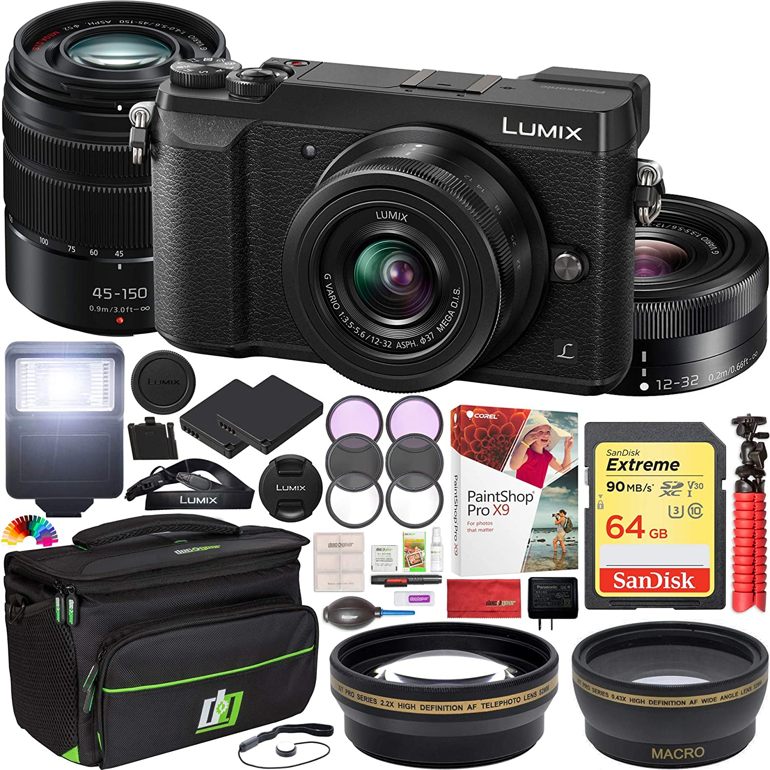 Panasonic LUMIX GX85 4K Mirrorless Camera with 12-32mm & 45-150mm Lenses Black Bundle with 64GB Memory Card, Paintshop Pro 2018 Digital Download, Bag, Flash and Accessories (12 Items)