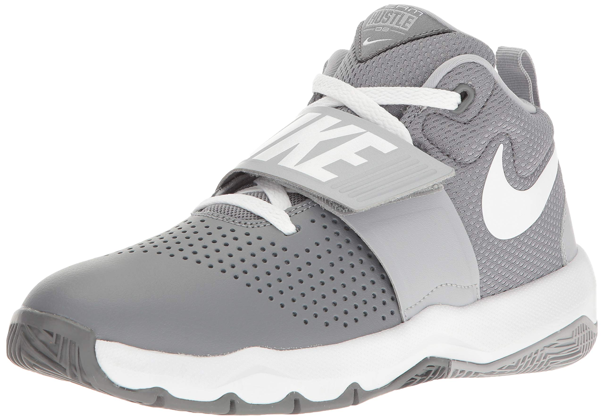 Nike Team Hustle D 8 (GS) Sneaker, Cool Wolf Grey-White, 5.5Y Regular US Big Kid
