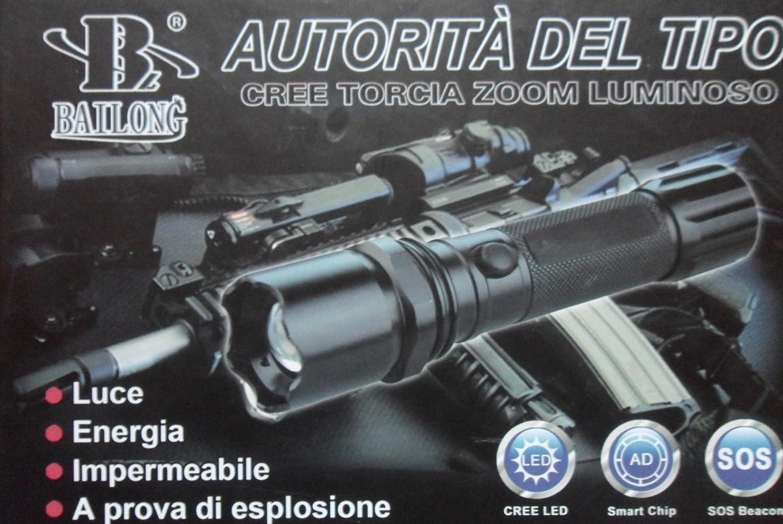 LAMPADA TORCIA POLICE MILITARE 5000W RICARICABILE CARICABATTERIE AUTO CAMPEGGIO