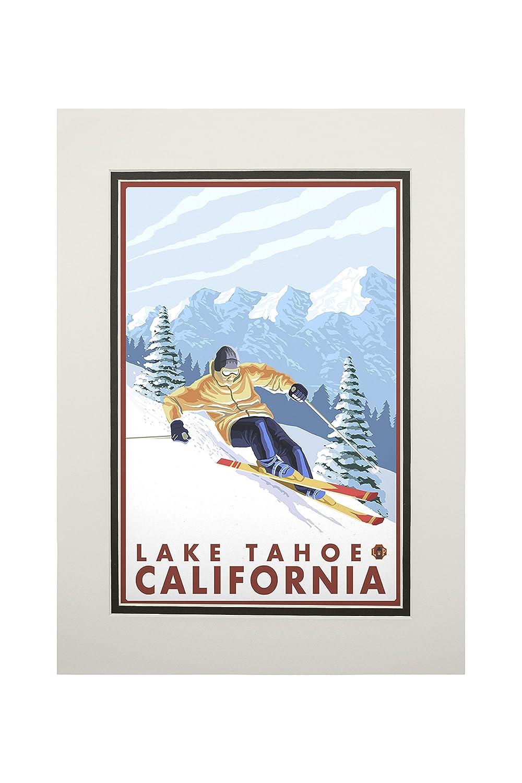 滑降雪スキーヤー – Lake 11 Lake Tahoe、カリフォルニア Canvas Matted Tote Bag LANT-14199-TT B06XZPG6X6 11 x 14 Matted Art Print 11 x 14 Matted Art Print, NO-MU-BA-RA:82449ad6 --- rdtrivselbridge.se
