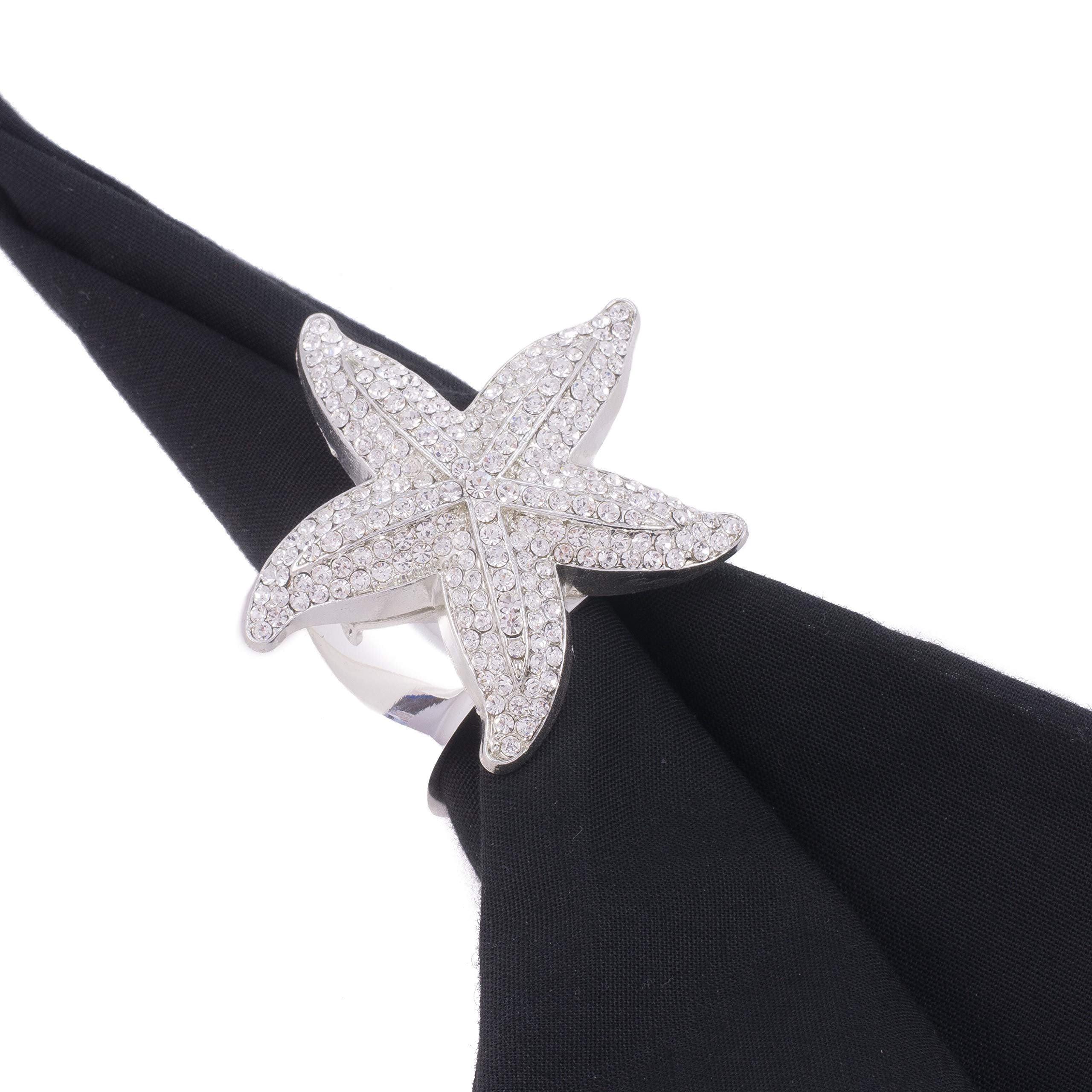 Isabella Adams Napkin Rings Featuring Swarovski Crystals and Large Silver Starfish | Set of 4