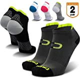 Low Cut Compression Running Socks for Men & Women (2 Pairs) with Athletic No Show Ankle Tab