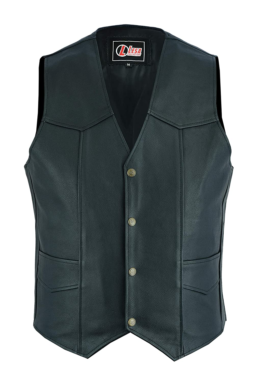 Black Leather Motorcycle Biker Style Waistcoat Vest Lesa Collecction 6XL