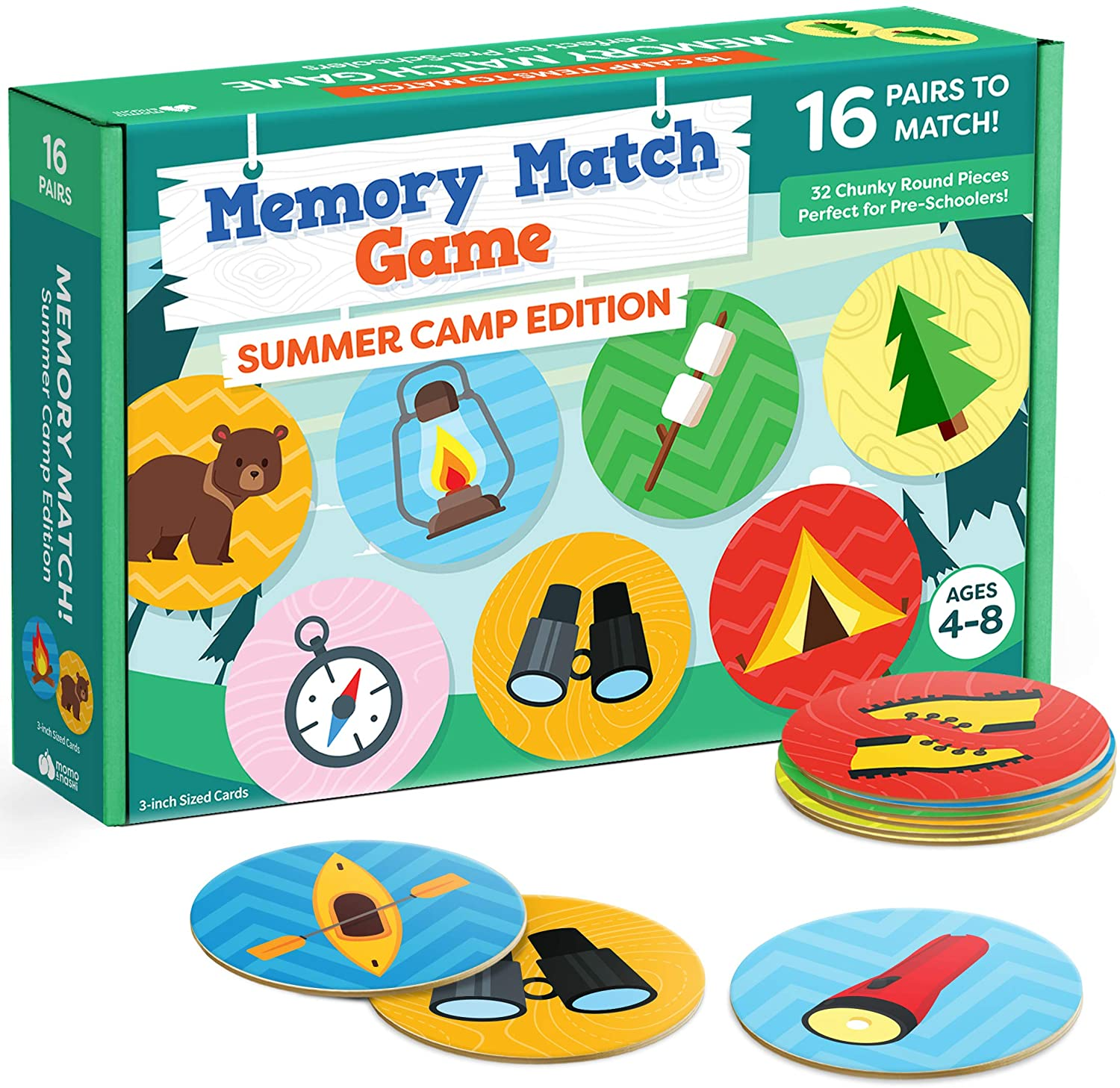 Matching Memory Game for Kids - 32pc Summer Camp Concentration Memory Card Games for Children - Preschool Toddler Memory Games for Kids 3-5, 3, 4, 5 and Up - Boys and Girls