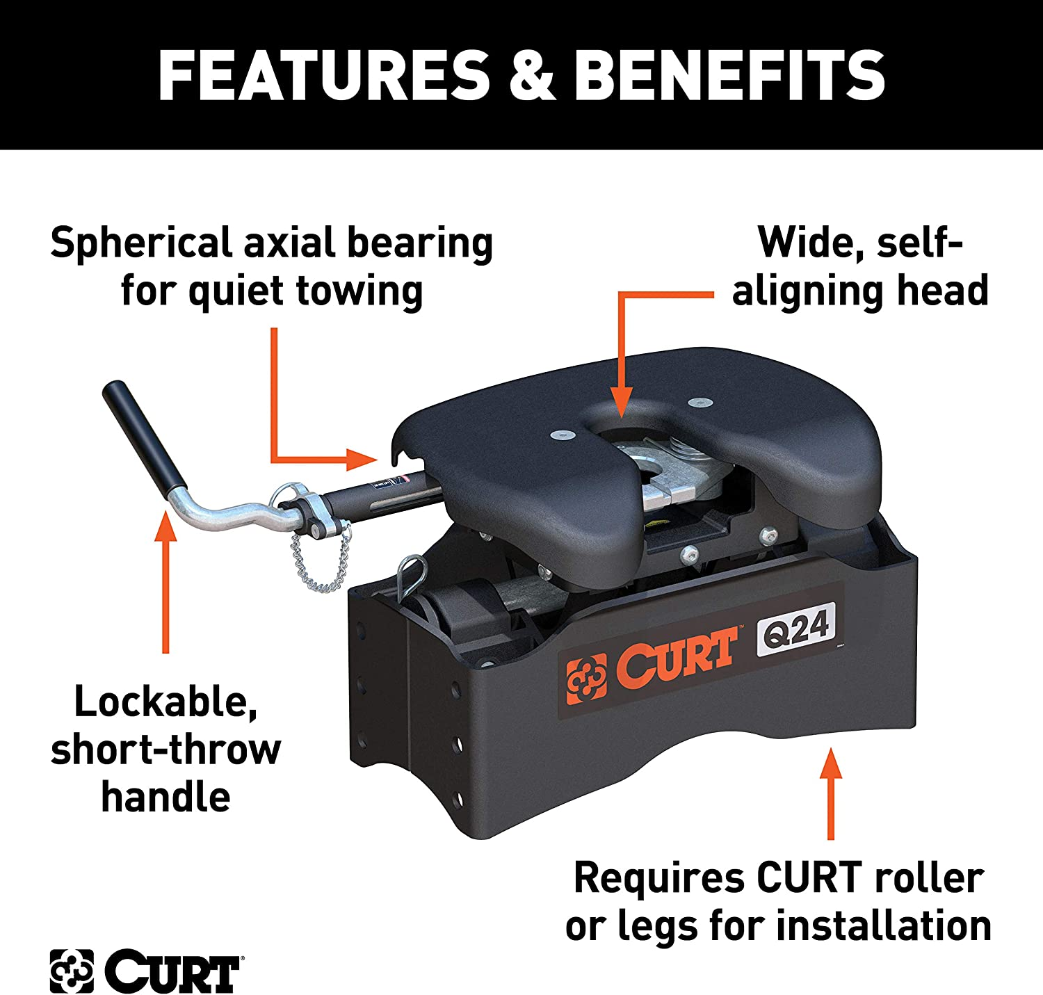 CURT 16025 Black Replacement Chevrolet Hitch Head Required 25,000 lbs GMC Puck System 5th Wheel Legs