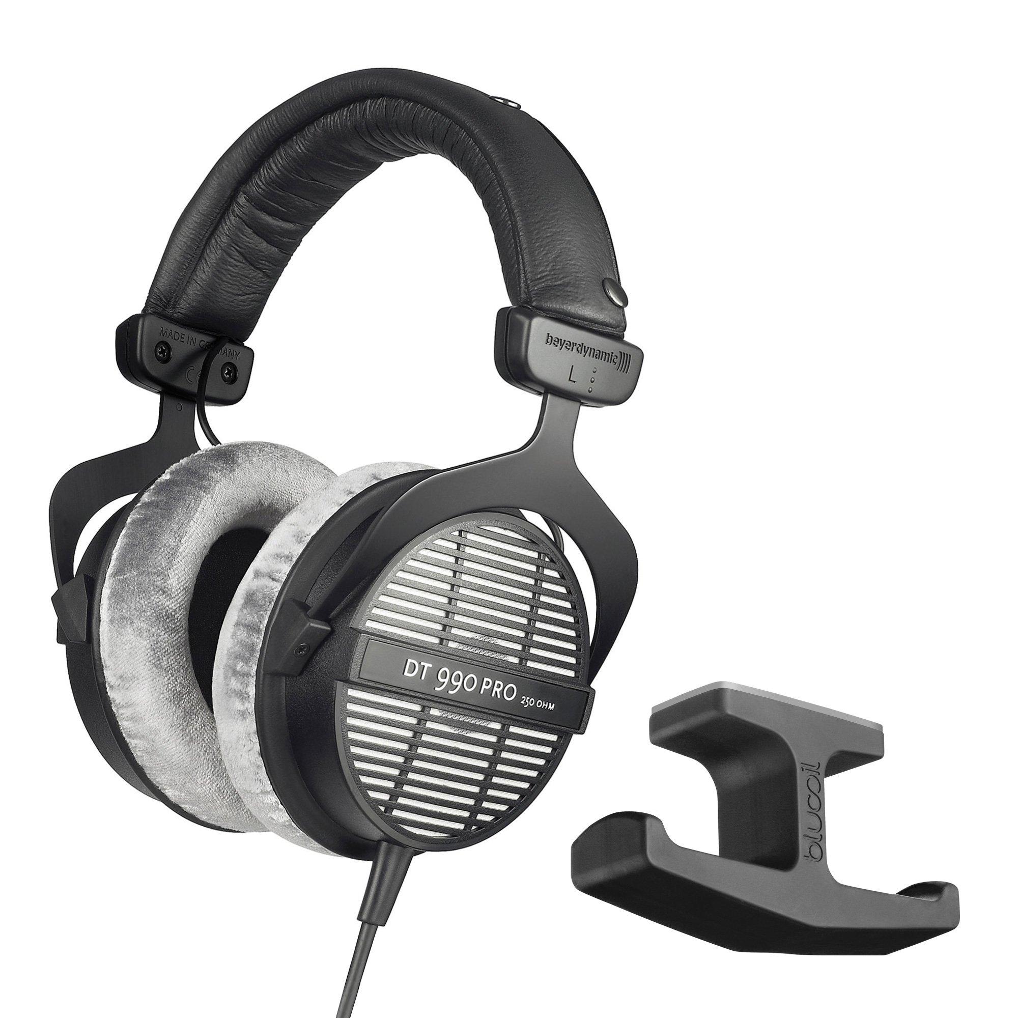 Beyerdynamic DT 990 PRO 250Ohm Open Studio Headphones -INCLUDES- Blucoil Stick-On Under Desk Dual Headphone Stand Mount