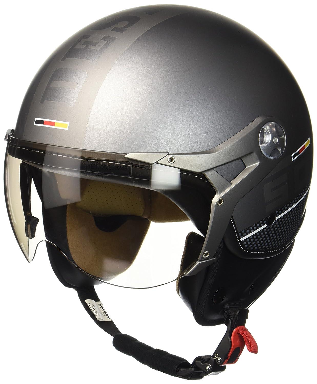 SOXON SP-325-PLUS Blue /· Urban Scooter Biker Casco Demi-Jet Vintage Urbano Helmet Piloto Cruiser Bobber Mofa Vespa Moto motocicleta Retro Chopper /· ECE certificado /· incluyendo parasol /· incluyendo bolsa de casco /· Azul /&