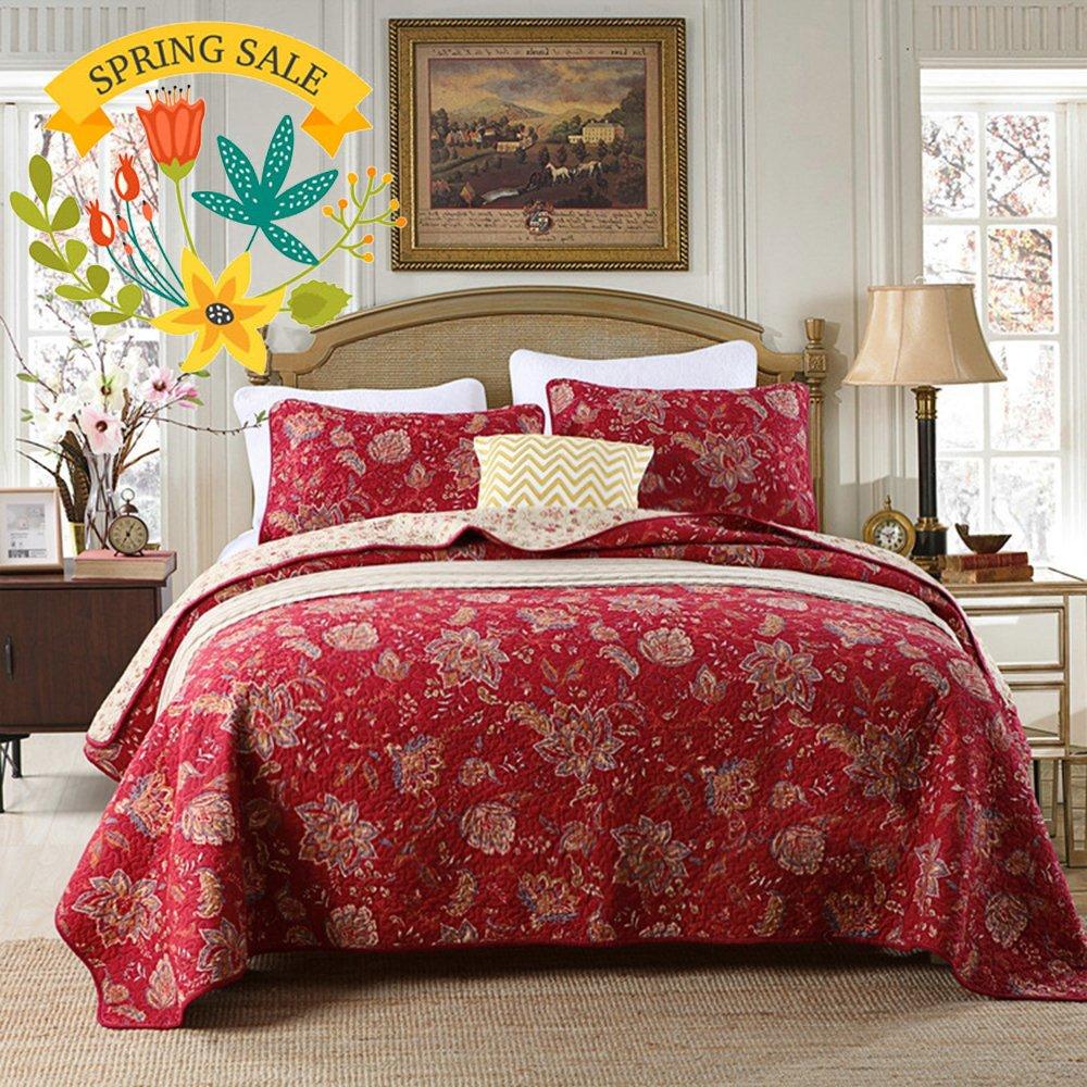 Luxury Floral Quilt Coverlet Set King Vintage Burgundy Quilt Bedspread Set Cotton Flower Print Reversible Quilt Set