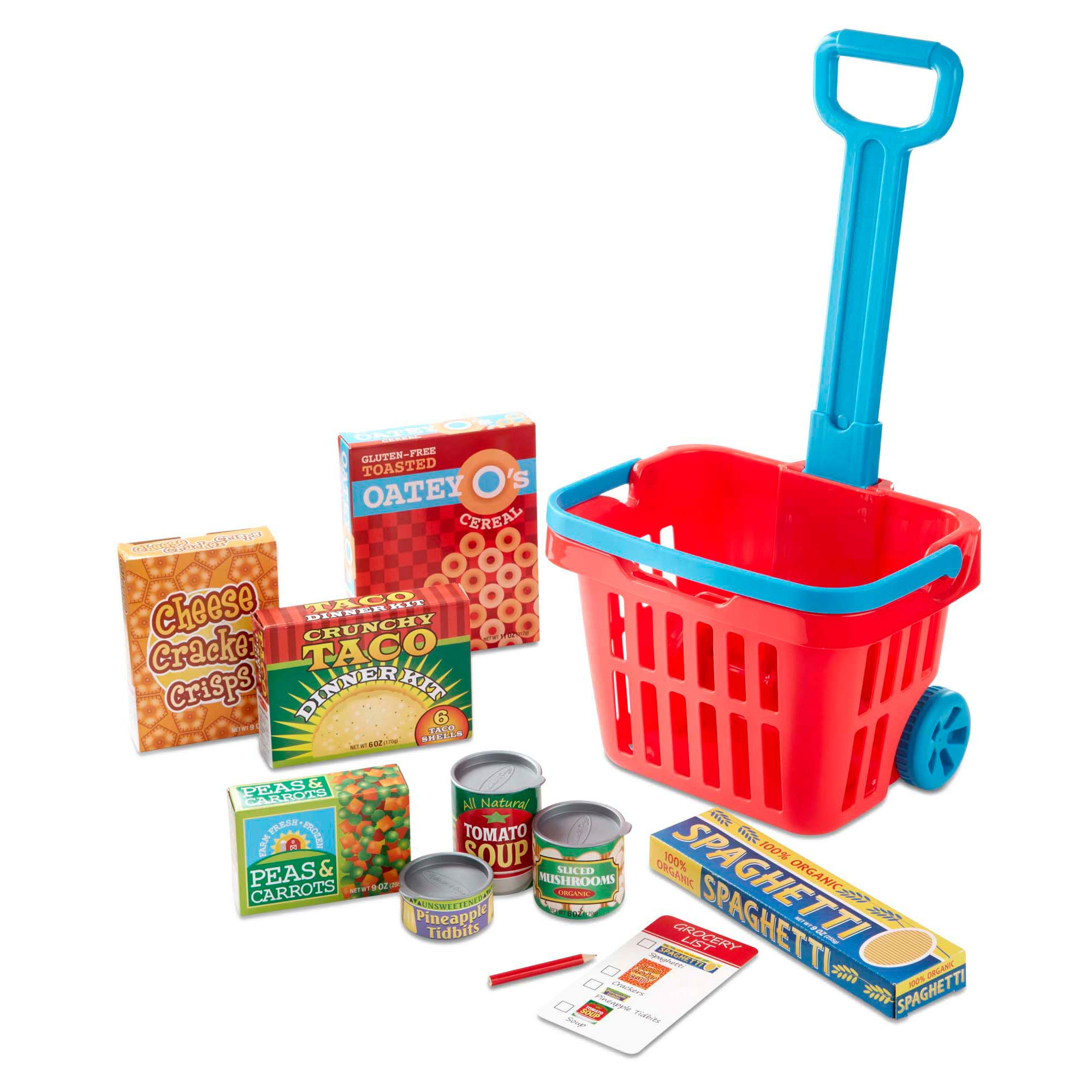Melissa & Doug Fill and Roll Grocery Basket Play Set With Play Food Boxes and Cans (11 pcs)