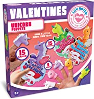 JOYIN 15 Pack Kids Valentines Day Cards with Unicorn Finger Puppet Set for Kids Valentines Classroom Exchange Prizes Valenti