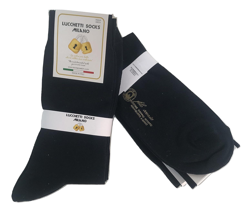 Lucchetti Socks Milano 6 paia di calze UOMO lunghe in Cotone Filo di Scozia TAGLIA UNICA