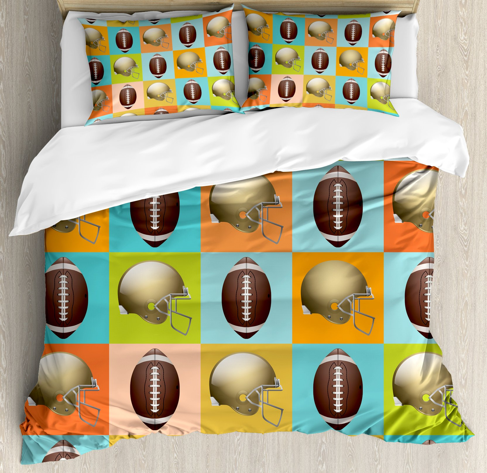 Football Duvet Cover Set Queen Size by Ambesonne, Colorful Squares Mosaic Pattern with Protective Helmets and Balls College Activity, Decorative 3 Piece Bedding Set with 2 Pillow Shams, Multicolor