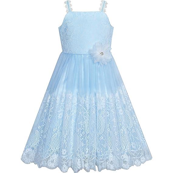 Sunny Fashion Vestido Para Niña Flor Azul Blanco Encaje Boda