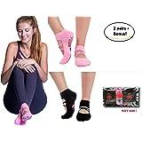 LUCKAYA Yoga Pilates Barre Ballet non-slip grip sticky socks. New Design!