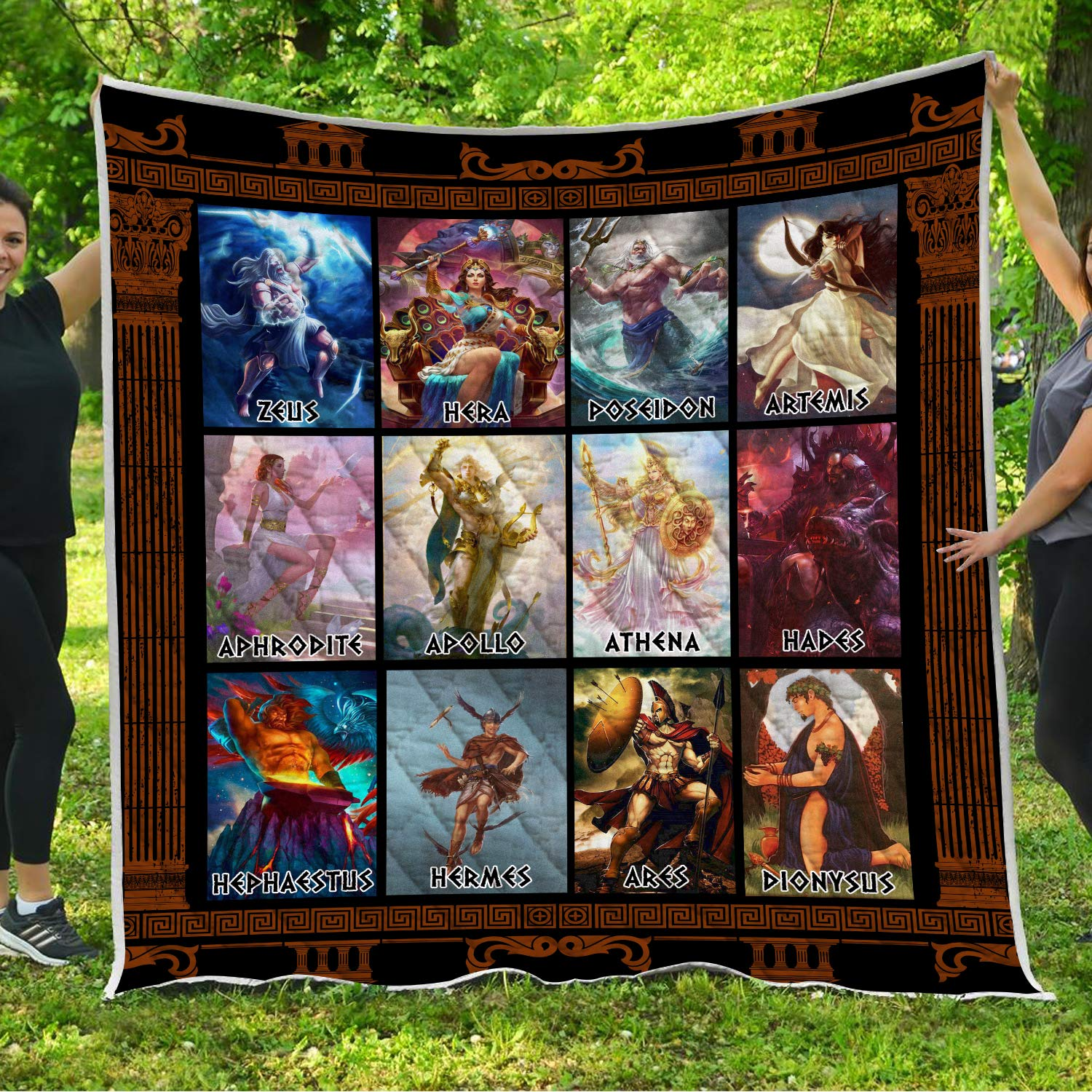 VTH Global Greek Mythological Gods Quilt Pattern Blanket Comforters with Reversible Cotton King Queen Full Twin Size Quilted Romantic Birthday Wedding for Wife from Husband Kids by VTH Global