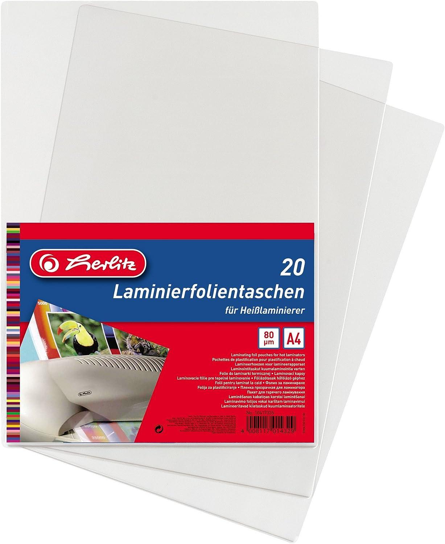 Herlitz 10417335 - Funda con láminas plásticas A4 (pack de 20 unidades): Amazon.es: Oficina y papelería