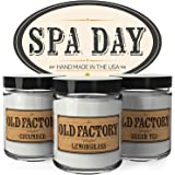 Scented Candles - Spa Day - Set of 3: Cucumber, Lemongrass, and Green Tea - 3 x 4-Ounce Soy Candles - Perfect Valentines Day Gift for Her