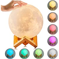 3D Printing Moon Lamp-BUKELERN LED Lunar Baby Moon Night Light Lamp Touch Control Moon Lantern Rechargeable Home Decorative Hanging Light With Wood Holder 5.9 Inch
