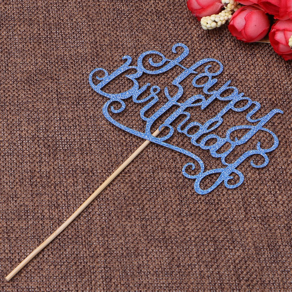 Amrka Happy Birthday Letter Insert Card Dazzling With Stick Cake Topper Decor Wedding Party Decoration (Blue)